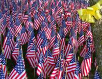 American Flag War Memorial with Yellow Ribbon