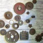 """Wheels - Cogs - Vintage tools"" by Philippa"