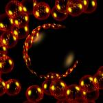 """Orange Reflective Bubbles On Black"" by biglnet"