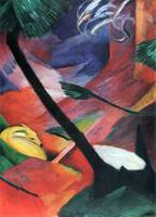 Deer in the forest II by Franz Marc