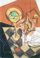Fruit peel and carafe by Juan Gris