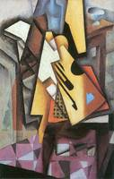 Guitar and stool by Juan Gris