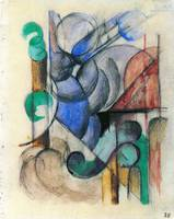 House in abstract landscape by Franz Marc