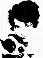 Boston Terrier with Art Deco Lady
