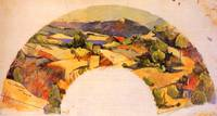 Fan picture with landscape after Cezanne
