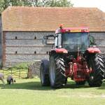 """Sussex Barn in Kingston with Sheep and Tractor"" by ec67"