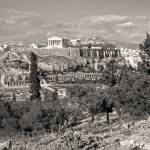 """Athenian Acropolis from Philopappou Hill, 1960Sepi"" by PriscillaTurner"