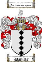 DANIELS FAMILY CREST -  DANIELS COAT OF ARMS
