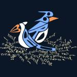 """Text Me Blue Bird - Design made entirely of text"" by kristensteinfineart"
