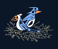 Text Me Blue Bird - Design made entirely of text