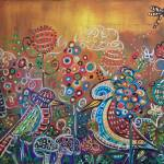 """Enchanted Garden : 2 Whimsy Birds"" by kristensteinfineart"