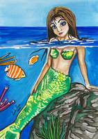 A watercolor painting of a mermaid in the water