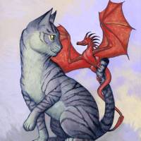 """Hitchhiker Cat and Dragon Rider"" by susanvancamp"