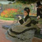 """Camille Monet on a garden bench"" by ArtLoversOnline"