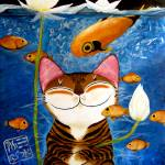 """cat-art-catmasutra-water-5-elements"" by catmasutra"