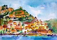 Amalfi Italy Coastline Watercolor Travel