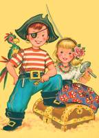Pirate Kids greeting card c. 1960s; artist unknown