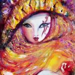 """VENETIAN MASQUERADE CHARACTERS / MASK IN YELLOW"" by BulganLumini"