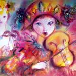 """Venetian Masquerade /Arlecchino and Colombina"" by BulganLumini"