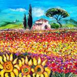 """FLORA IN TUSCANY/ Fields ,Poppies and Sunflowers"" by BulganLumini"