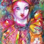 """Venetian Masquerade Characters /Pierrot with Cat"" by BulganLumini"