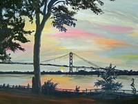 AMBASSADOR BRIDGE AT SUNSET