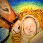 """Donkey nudges baby Jesus"" by AmyQueen"