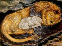 The lion and lamb stained glass
