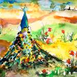 """""""Peacock & Poppy Field South of France"""" by GinetteCallaway"""