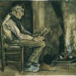 """Farmer Sitting at the Fireside Reading"" by ArtLoversOnline"