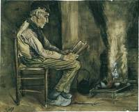 Farmer Sitting at the Fireside Reading