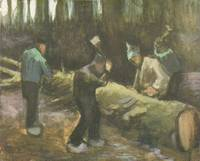 Four Men Cutting Wood