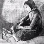 """Girl with Black Cap Sitting on the Ground"" by ArtLoversOnline"