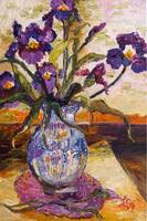Blue Iris Oil Painting Still Life by Ginette Calla