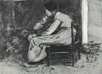 Woman Sitting at the Fireside