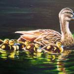 """Mallard and ducklings"" by SuzanneBarrettJustis"