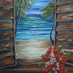 """Caribbean Shutters with red ginger"" by artistamy"