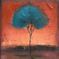 Singular Beauty Red Glow Tree Landscape Fine Art