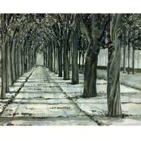 Tuileries.mono.print Art Prints & Posters by David Buschman