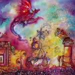 """GARDEN OF THE LOST SHADOWS / Flying Red Dragon"" by BulganLumini"