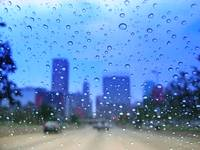 downtown Baltimore: rainy windshield view 1