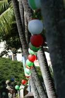Lanterns hanging at Iolani Palace grounds