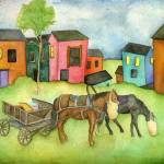 """Shtetl and Horses"" by MiriamNerlove"