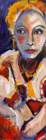 Modern Oil Painting Face of a Women by Ginette Cal