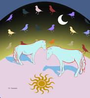Horses under arc of birds with sun moon
