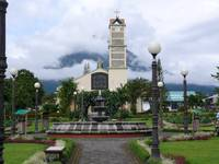 La Fortuna Church with Arenal Volcano Behind