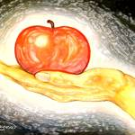 """apple in hand stained glass"" by AmyQueen"