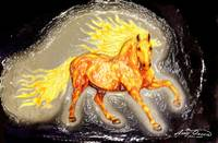 Fire Horse stained glass