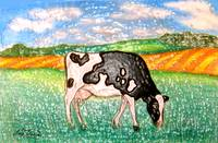 Cow in Medow stained glass