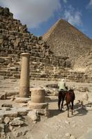 Column and Horses Between the Pyramids